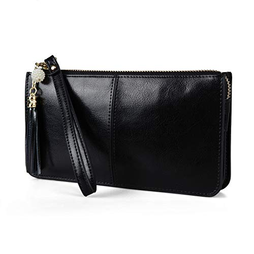 Befen Black Small Genuine Leather Clutch Wristlets Cell Phone Wallet Case Smartphone Organizer Purses and Handbags for Women - Fit iPhone 8 Plus