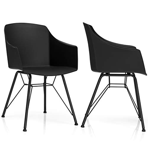 Giantex Set of 2 Modern Dining Chairs, Plastic Dining Arm Chairs w/Metal Base, Ergonomic Backrest, Anti-Slip Foot Pads, Modern Leisure Chairs for Dining Room, Kitchen (2, Black)