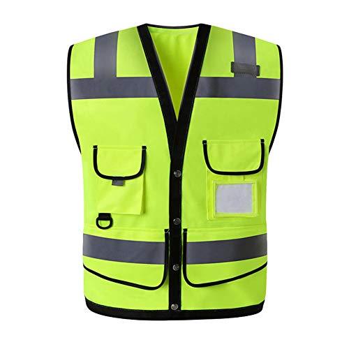 SK Studio Unisex Hohe Sichtbarkeit Warnweste mit Reflektorstreifen und Reißverschluss Vier Taschen Arbeitsweste Fluoreszierendes Gelb Medium