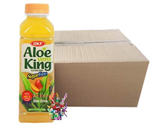 yoaxia ® - 20er Pack - [ 20x 500ml ] OKF SUGAR FREE Aloe Vera King Getränk MANGO Geschmack / Aloe Vera Drink + ein kleines Glückspüppchen - Holzpüppchen