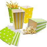 JAVOUKA 20 bolsas de palomitas de maíz, bolsas de papel, cajas de palomitas de maíz para fiestas, dulces, palomitas de maíz y bolsas de regalo, color verde + amarillo