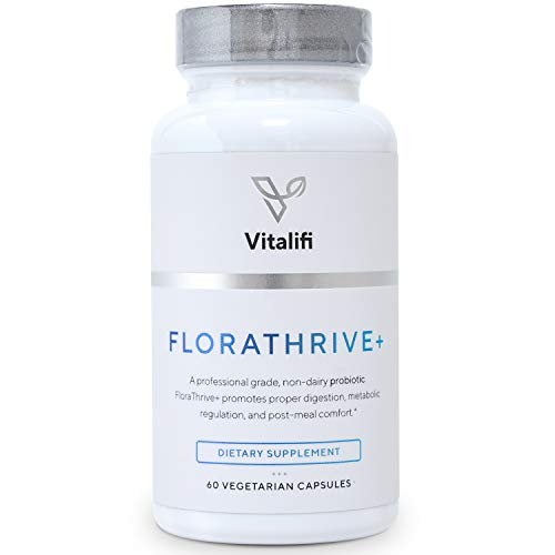 FloraThrive+ Premium Multi Strain Probiotic Supplement with Digestive Enzymes - 30 Billion CFU, 7 Dairy Free Non-Histamine Producing Strains of Good Bacteria for Women & Men - 60 Capsules