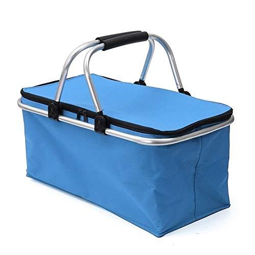 30L Folding Picknick-Beutel wandernd kampiert Insulated Lunch Bag Outdoor Picknick-Korb Cooler Hamper Portable Storage Box 46 * 28 * 24cm (Color : Blue)