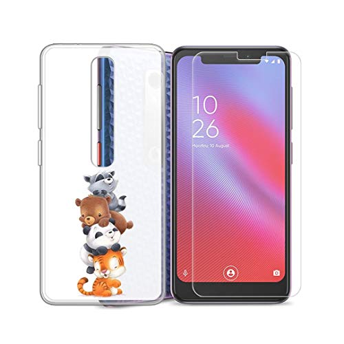 SCDMY Hülle für Vodafone Smart N10 Hülle + Panzerglas Displayfolie, Lichtdurchlässig Schutzhülle Weich Silikon Dünne Schale Handyhülle Und Panzerglas für Vodafone Smart N10 (5.67