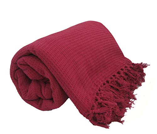 viceroy bedding 100% Cotton Honeycomb Waffle Sofa/Bed Throw, With Tasselled Edging (70' x 100', Burgundy)