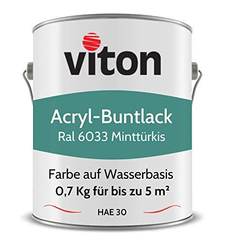 Buntlack von Viton - 0,7 Kg Türkis - Seidenmatt - Wetterfest für Außen und Innen - 2in1 Grundierung & Lack - HAE 30 - Nachhaltige Farbe auf Wasserbasis für Holz, Metall & Stein - RAL 6033 Minttürkis