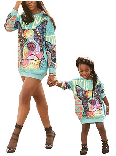 MISSugar Mommy and Me Welpen-Print, Rundhalsausschnitt, langärmelig, kurzes Kleid, für Familie, passendes Einteiler, Bluse, lässiges langes Hemd,Mutter,M