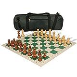 ZANZAN Juego de ajedrez de torneo estándar para juegos de viaje contiene piezas de ajedrez de madera maciza, tablero de ajedrez de cuero, bolsa de ajedrez (color verde)