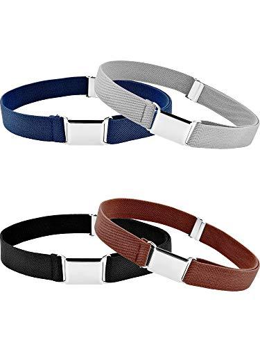 Tatuo 4 Pieces Kids Buckle Belt Kid Adjustable Elastic Belt Boy Stretch Belt for Children Favor (black, gray, brown, navy blue)