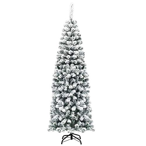 COSTWAY Albero di Natale Artificiale Slim, Albero Alaska Innevato, Base Pieghevole di Metallo, Salva Spazio, Facile da Montare, Apertura a Ombrello 140-180cm (180cm)