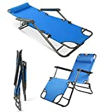 Patio Lounge Chair, Foldable Outdoor Beach Lounge Chairs Reclining Sun Pool Lawn Chaise with Pillow for Camping Patio Lawn (Blue)