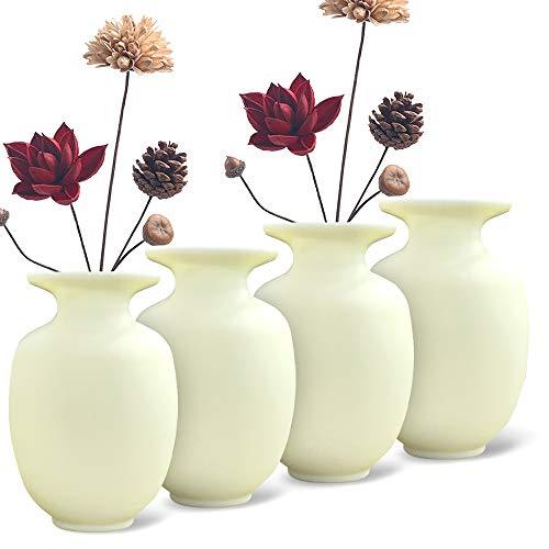 Eauta Jarrón de flores adhesivas para colgar en la pared para ventanas frigoríficos armarios baldosas de cerámica carga de agua macetas decorativas colgantes (4 unidades) amarillo