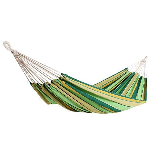 Detex Hamaca de algodón Verde Carga máx de 300 kg para 2 Personas 320 x 150 cm para su jardín terraza Camping Exterior