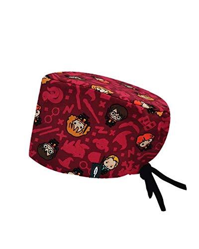 Modelo: RED HARRY POTTER - Estampado-Gorro de Quirófano ROBIN HAT- Pelo Largo - Ajustable- 100% -algodón (Autoclave)