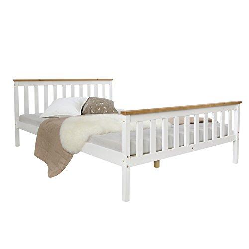 Homestyle4u 1843, Holzbett 140x200 cm weiß, Doppelbett mit Lattenrost, Kiefer Massivholz