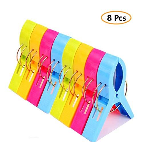 Voarge 8 Stück Handtuchklammer Strandtuchklammer Plastik 4 Farben Clips Groß Kleider Trocknen Klammer für Wäsche, Strandtuch, Badetuch, Teppich etc