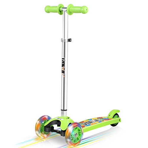 VOKUL Kick Scooter for Kids, 3 Widen Flashing PU Wheels, Adjustable Height Kids Scooter with a Easy Folding System, Best Gift for Kids Age 3+