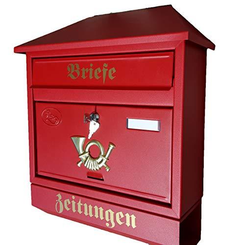 Naturholz-Schreinermeister Großer Briefkasten/Postkasten XXL Rot/Matt mit Zeitungsrolle Zeitungsfach Schrägdach Trapezdach