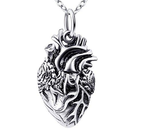 Anatomisches Herz Anhänger Halskette aus 925 Sterling Silber Medizin Herzkette Damen by Serebra Jewelry