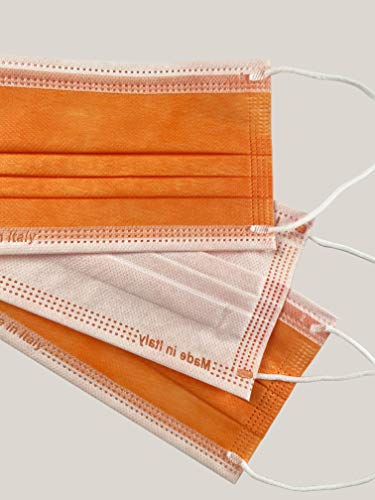 Protezionipiù 10 Mascherine Chirurgiche Certificate COLORATE Arancioni per Adulti - Mascherine A 3 Strati (100% polipropilene) - Bustina Da 10 Pezzi - CERTIFICATE CE (Arancione)