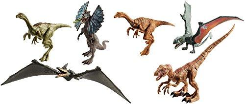 Jurassic World FVP51 Legacy Collection 6 Pack Figure Set - Dilophosaurus|Velociraptor|Gallimimus|Pteranodon |Dimorphodon
