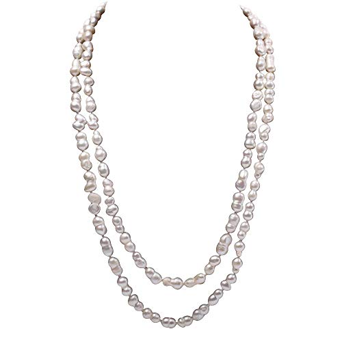 JYX - Collana con perle lunghe da 7,5 a 13,5 mm, colore bianco naturale barocco di perle coltivate d'acqua dolce e Lega, colore: bianco, cod. FNO714