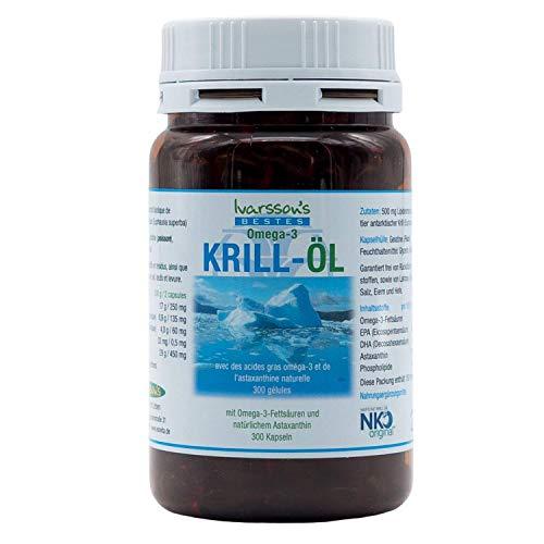 Omega-3 Kapseln mit Astaxanthin I 300 Kapseln I Ivarssons ESOVita I Krill-Öl-Kapseln mit EPA DHA I natürliches Astaxanthin