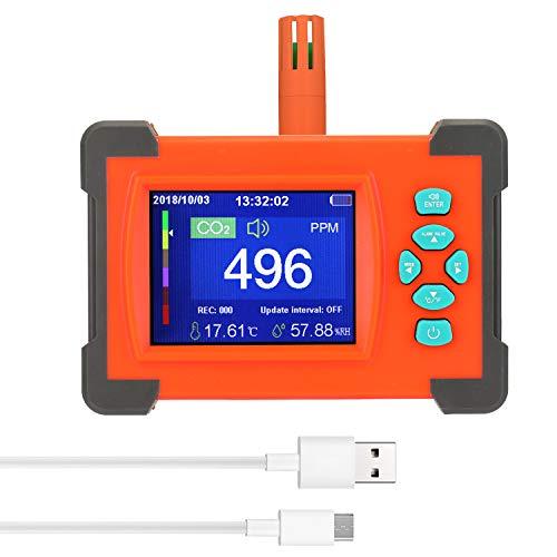 CO2-Messgerät KKmoon Kohlendioxid Detektor mit Akku CO2 Meter Tester für Luftqualitäts Detektor Monitor mit Aufbewahrungskoffer Standard Version Orange