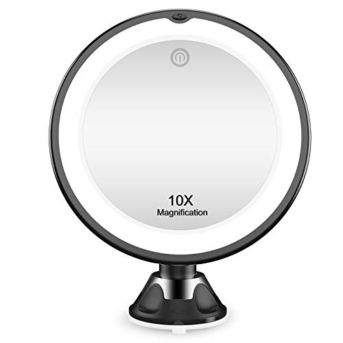 KOOLORBS 10X Magnifying Mirror with Lights, Makeup Mirror Vanity Mirror Lights, 3 Color Lighting, Intelligent Switch, 360 Degree Rotation, Powerful Suction Cup, Portable Traveling Mirror