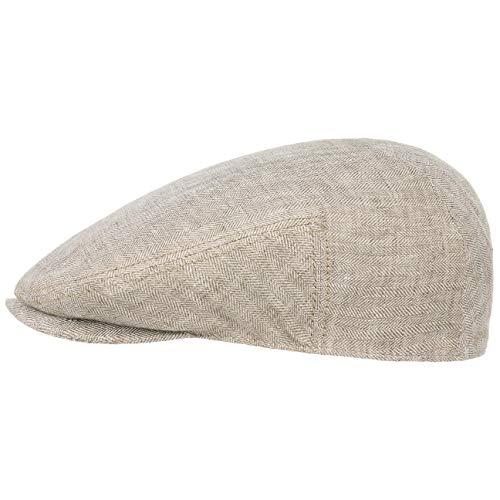 Stetson Woodfield Linen Flatcap - Leinenmütze Herren - Schirmmütze aus Leinen mit UV-Schutz (+40) - Sommercap Herringbone - Flat Cap Frühjahr/Sommer - Herrenmütze Hellbeige XL (60-61 cm)