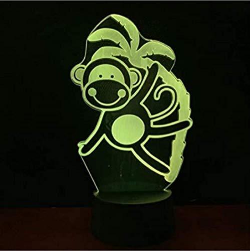 3D Illusielamp Grappige LED Nachtlampje Aap Nachtlampje voor Kinderkamerdecoratie USB LED Nachtlampje Verjaardagscadeau voor Kinderen