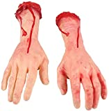 FunisFun 1 Pair Fake Human Arm Hands Bloody Terror Severed Dead Body Parts Broken Severed Haunted Halloween House Party Decorations (Left and Right)