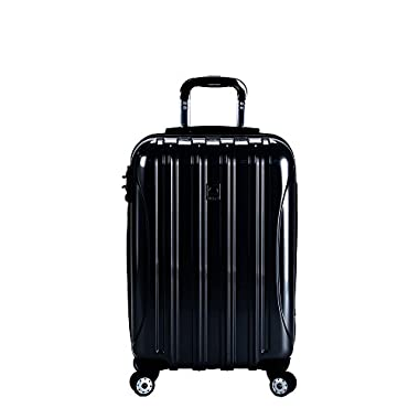 Delsey Luggage Helium Aero Carry On Expandable Spinner Trolley (Black)