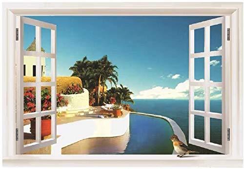 3D-Wandaufkleber, Motiv: Fensterblick auf das mediterrane Haus und den Infiniti-Pool, 88,9 x 61 cm