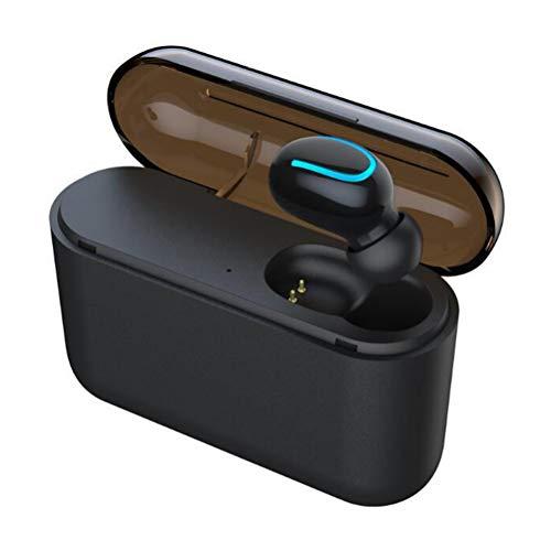 Wsaman In-Ear Auriculares, Bluetooth Inalámbricos Auricular Impermeable con Caja de Carga Cancelación de Ruido para Deportes/Oficina en Casa/Trabajo Earbuds,Black Single