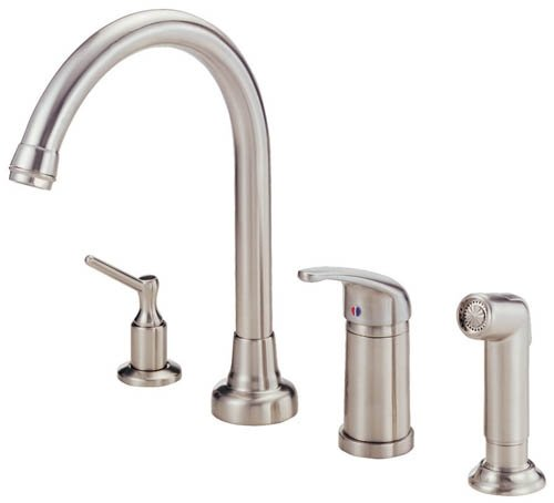 Danze D409012SS Melrose Single Handle Kitchen Faucet with Matching Side Spray and Soap and Lotion Dispenser, Stainless Steel