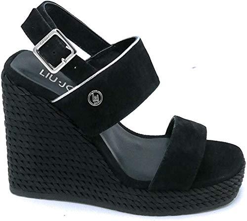 Liu Jo S19095 Sandalo Zeppa Alta camoscio Nero Giallo Cinturino - Taglia Scarpa 38 Colore Nero