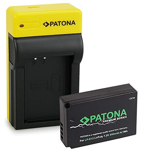 PATONA Premium Bateria LP-E12 con Estrecho Cargador Compatible con Canon EOS 100D, EOS M, M2, M10, M50, Rebel SL1