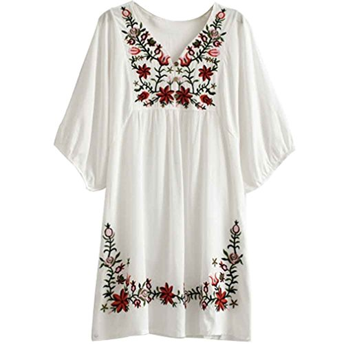 Kafeimali Summer Dress V Neck Mexican Embroidered Peasant Women's Dressy Tops Blouses (White)