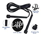 Liffo Skipping Rope for Men Women Weight Loss Black (Black, 9FT)