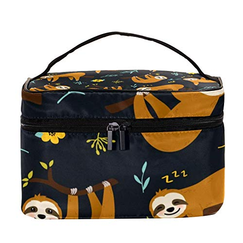 TIZORAX Smile Sloth on Branch Cosmetic Bag Travel Toiletry Case Large Makeup Organizer Box