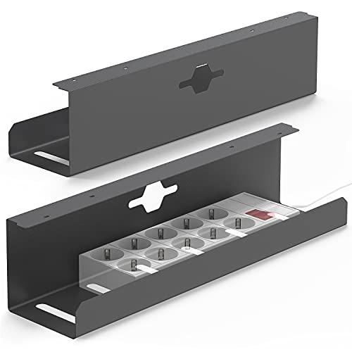iVengo® Lot de 2 passe-câbles pour bureau certifié TÜV - Pour une gestion idéale des câbles - Support de câble spacieux - 2 x 50 cm - Robuste - Gris graphite mat