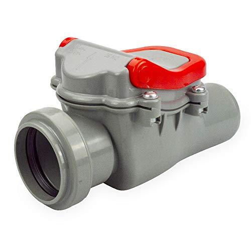Rückstauklappe Rückstauverschluss fi 50, 75, 110, 160, 200 für KG Rohr Abwasser (50 mm, Grau)