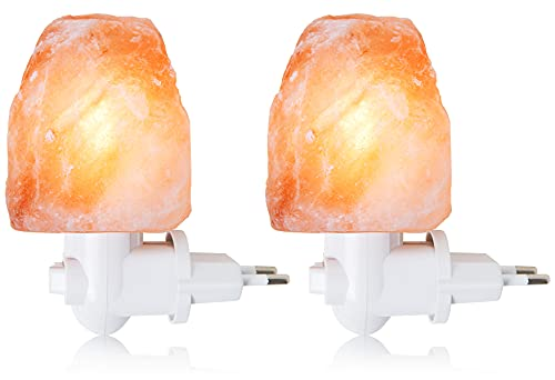 OHLGT Lámpara de sal del Himalaya por la noche de la lámpara de cristal de luz Salt Lámpara de mano Esculpita luz de sal (dos tomas colgantes)