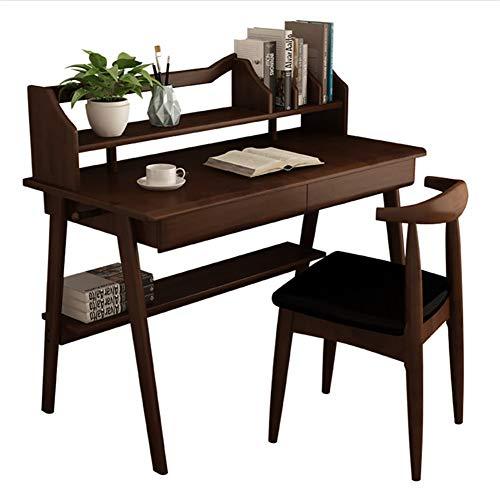 CDTO Massivholz Computer Tische Mit Bücherregal Und Schublade, Moderne Einfache Wirtschaftlichen Bürotisch Schreiben Studie-b1 100cm Schreibtisch+1 X Stuhl A