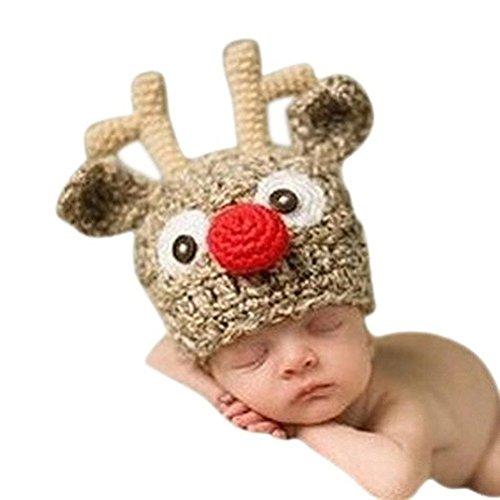 Fenical bébé faite à la main Chapeau en tricot crochet Knit Chapeau de renne Cerf de photographie Prop pour Halloween de Baby Shower de Noël