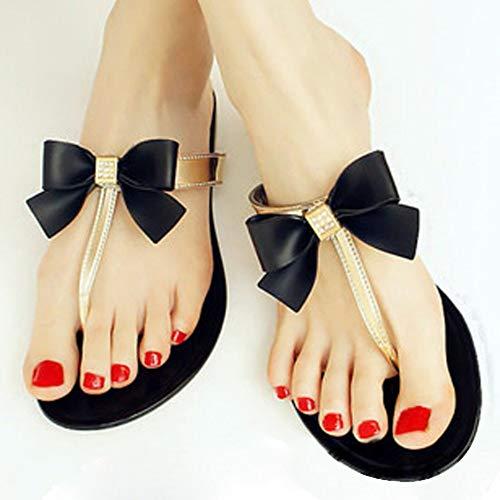 QIMITE Damen-Zehentrenner Frauen Schuhe Jelly Jelly Flip Flop Sandalen Damen Flache Schuhe Frauen Schuhe, Photo Color, 36