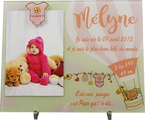Cadre Photo Naissance - Cadeau de Naissance personnalisé avec le prénom du bébé – idéal pour la liste de naissance – pour fille ou garçon – Kd-iF