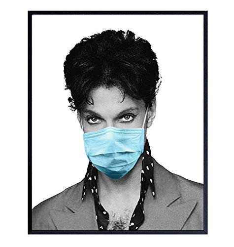 Poster of Prince in Face Covering - Covid 19 Coronavirus Pandemic Wall Art Room Decor - Funny Gift for 80s Music Fans - 8x10 Picture Print for Living Room, Bedroom, Bar