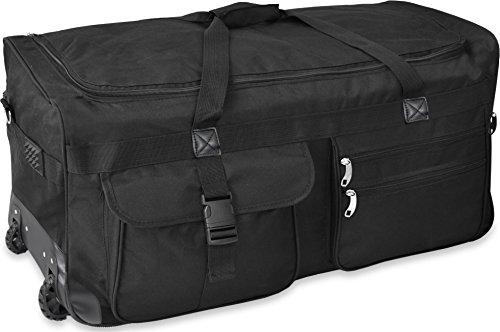 Gear Up Extra großer Trolley - Reisekoffer Reisetasche 80 100 120 oder 150 Liter wählbar Farbe Schwarz/80 Liter